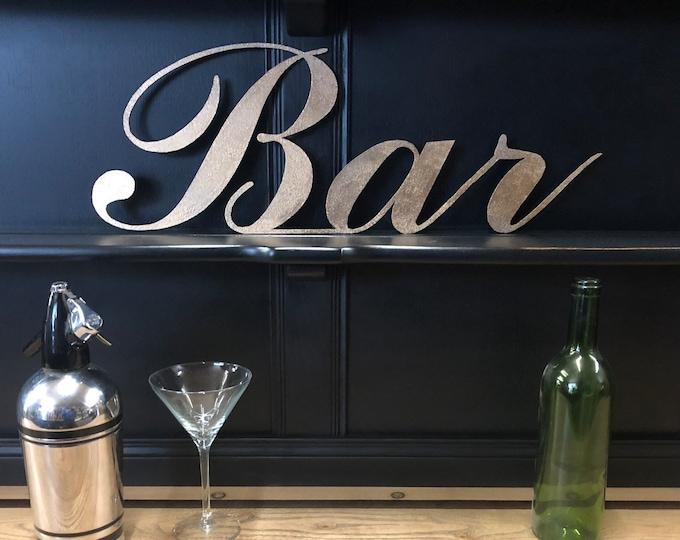 GOLD METAL BAR sign , cocktail bar decor , drinks cabinet sign , gold lettering , home bar decor