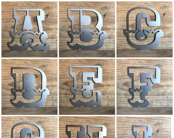 """STEEL 5"""" CARNIVAL metal alphabet letters, shop signage, initials, house name, lettering, rusted, industrial, vintage, barbers, home, love"""