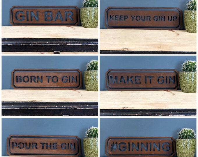 RUSTIC SIGNS , Gin bar , wine bar , cocktail bar , drinks cabinet , boho furniture , rusty metal letters , home decor , vintage sign ,