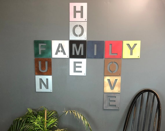 """7"""" Rustic Metal Alphabet Letters Tiles Personalised Wall Art Words Sign Scrabble A-Z"""