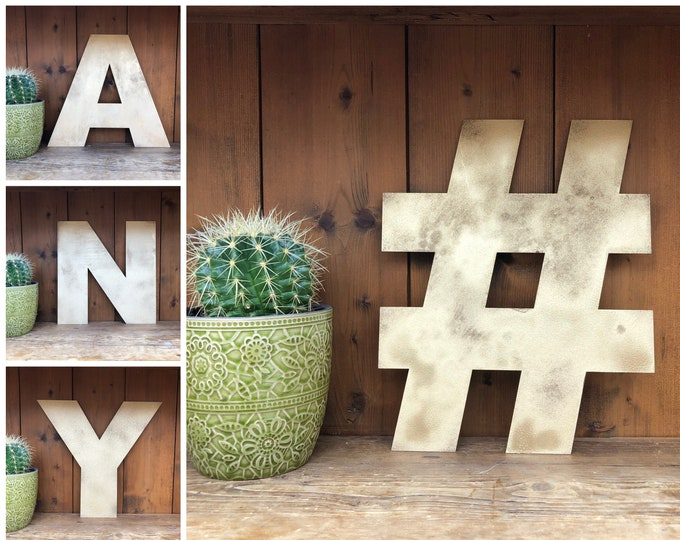 """Rustic 5"""" or 12"""" gold metal alphabet letters, A-Z, 0-9, initials, house name, boho scandi lettering , Shabby chic decor ,"""