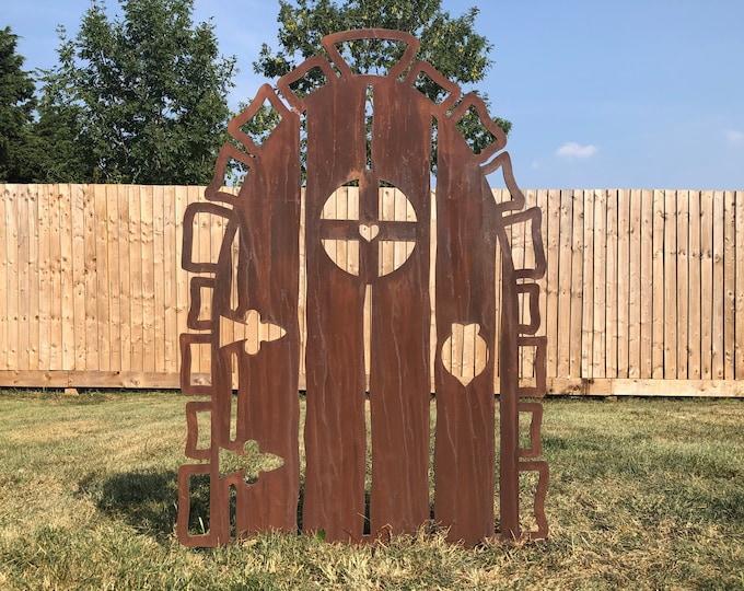 Large  rusty Metal ELF / FAIR DOOR , garden decoration , lawn feature , wall art , garden decor , fun garden gift , garden statue ,