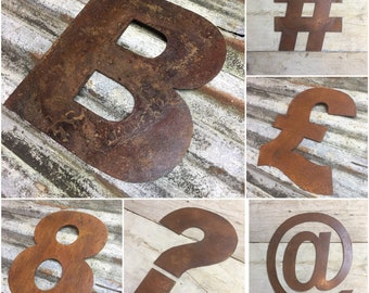"""RUSTY METAL LETTERS, 5"""" Or 12"""" Tall fat font , rustic metal lettering , shop sign , rusted , home bar , bbq sign , garden bar , garden sign"""