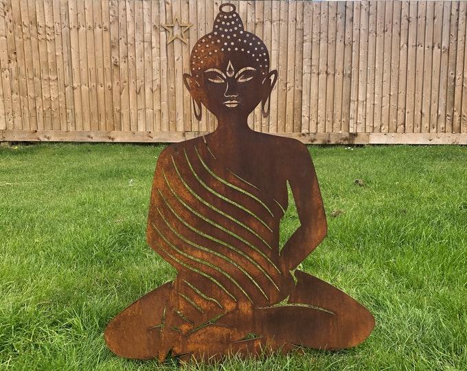 RUSTY METAL BUDDHA Garden ornament , rustic garden decoration , Buddha Silhouette , Garden Feature ,  buddha statue , lawn decor