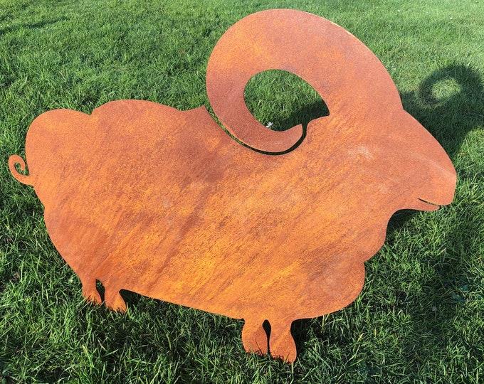 Garden ornament, rusty metal , SHEEP / RAM Home sign , Garden Decoration , garden feature