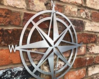 Steel  metal , COMPASS DECORATION , Garden Ornament , GARDEN Decoration , garden sculpture , fence decoration , wall decor , rustic sign