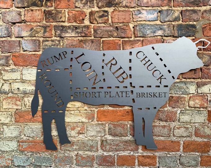 Large COW Sign Metal Shop Home Ornament Farmyard Butchers Animal cuts Beef BBQ