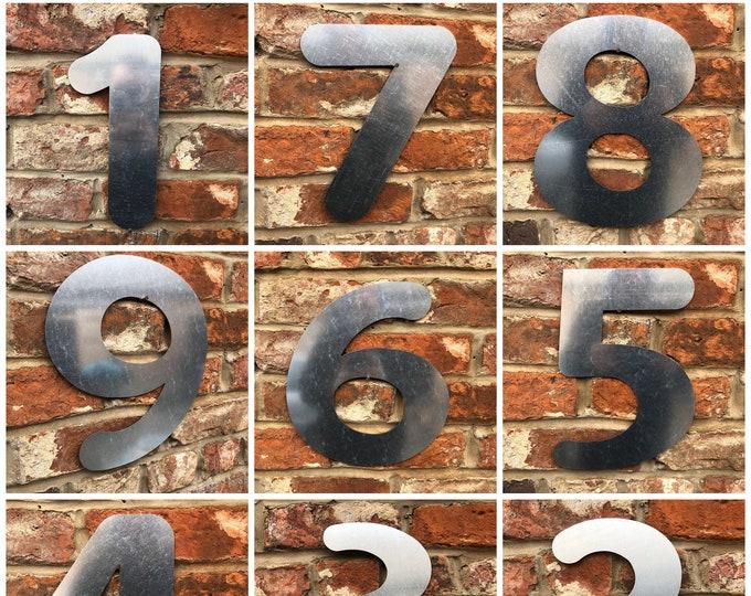 BIG METAL House NUMBERS , Shop Door numbers ,  Wall Sign , Industrail lettering , shop signage , door numbers, galvanised metal
