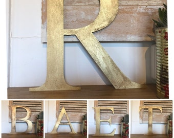 "Rustic 5"" or 12"" gold metal alphabet letters, A-Z, 0-9, initials, house name, lettering, barbers, bar, coffee shop, eat numbers home gin tea"