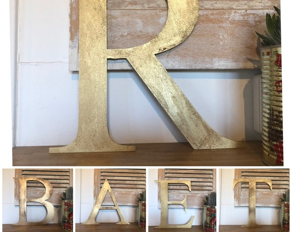 """Rustic 5"""" or 12"""" gold metal alphabet letters, A-Z, 0-9, initials, house name, lettering, barbers, bar, coffee shop, eat numbers home gin tea"""