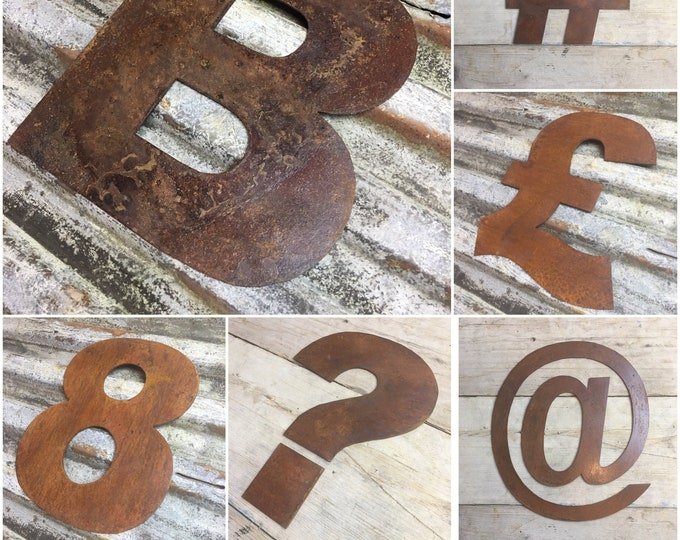 "Rusty 12"" fat font metal alphabet letters, shop sign, initials, house, lettering, rusted, industrial, vintage, numbers, barbers, home, love"