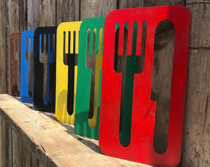 Rustic kitchen decor , coloured KNIFE AND FORK Sign , Cafe decor , Restaurant decor , Kitchen accessories, eat sign , kitchen sign , boho