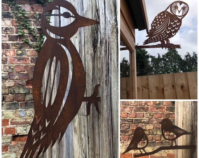 SPECIAL OFFER , 3 Rusty Metal Birds Garden Ornaments ,  garden bird decorations  , rustic features , garden art , gift for a gardener