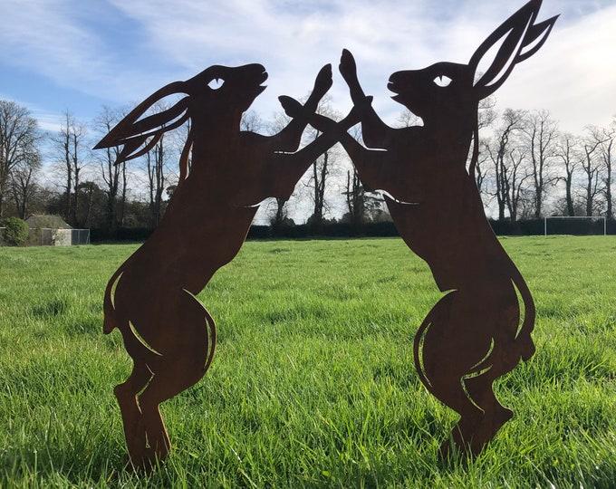 Rusty Metal Garden ornament , BOXING HARES , garden Sign , Silhouette , Garden Feature , fighting hares , leaping hares , garden decor ,