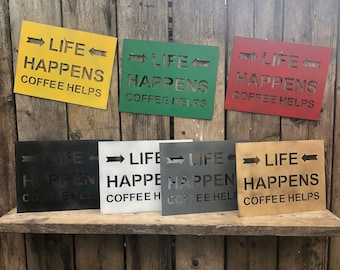 Colourful Boho Life Happens Coffee Helps Kitchen Sign rustic christmas birthday present gift for her wife mum mother lady women girlfriend