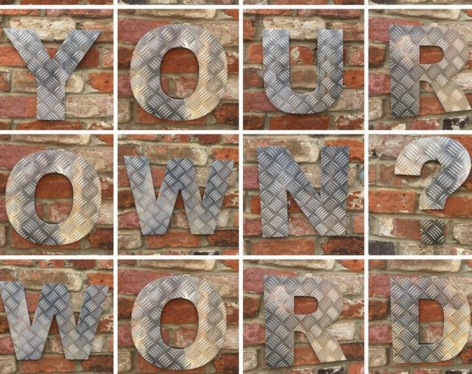 """Aluminum 5"""" Checker Plate metal alphabet letters, shop signage, initials, house name, lettering, rusted, love, gin, numbers, barbers, home"""
