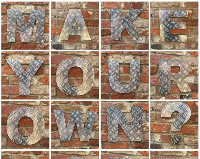 "Aluminium 12"" metal alphabet letters, shop signs, initials, house name, lettering, rusted, industrial, vintage, numbers, barbers, home, love"