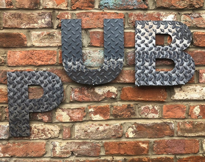 PUB INDUSTRIAL LETTERING Letters Metal Shop Home Sign Rustic Drinks Cocktails