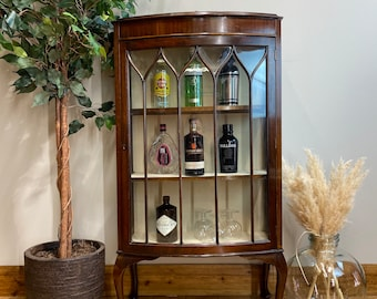 Vintage China Cabinet / Cocktail Cabinet /Glazed Mahogany Display / Gin Cupboard