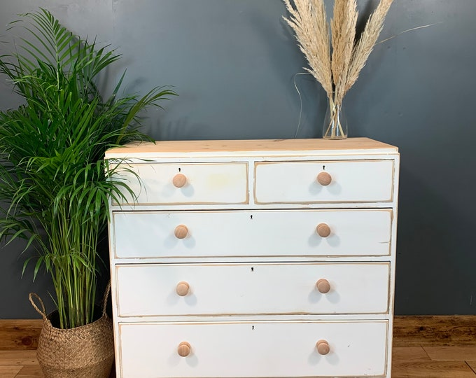 Vintage Upcycled Shabby Chic Chest Of Drawers Painted White Distressed Boho Pine