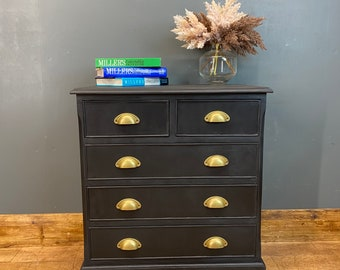 Vintage Drawers / Painted Upcycled Drawers / Black Chest Of Drawers / Rustic
