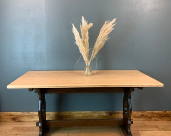 Vintage Refectory Farmhouse Solid Oak Kitchen Rustic Table Shabby Chic Country