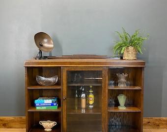 Vintage Oak Glazed Cupboard / Rustic Sideboard / Oak Display /  Glazed Bookcase