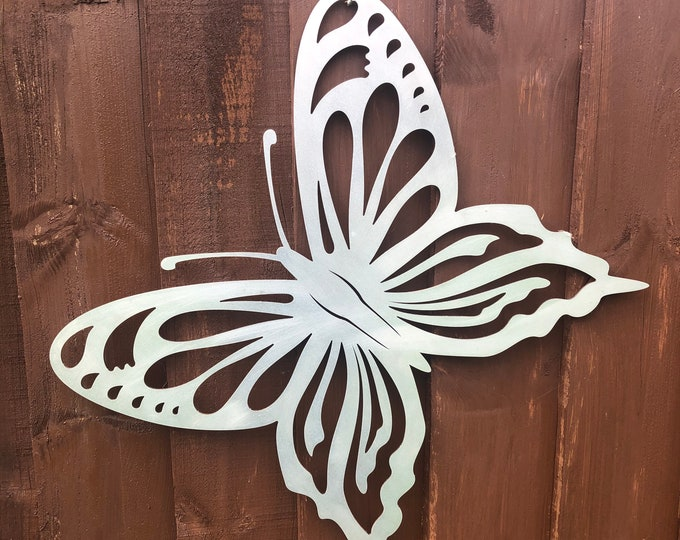 Large STEEL metal BUTTERFLY DECORATION ,  Home Sign , Garden Ornament , Wall feature , Animal decoration, rusted metal , butterfly sign ,