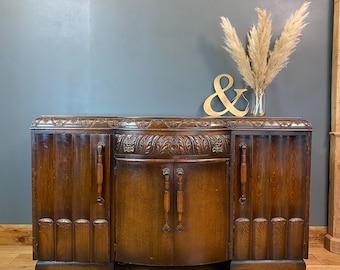 Art Deco Oak Sideboard / Rustic Sideboard / Vintage  Cupboard / Shabby Chic