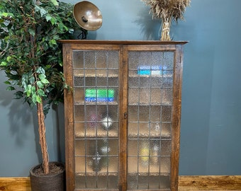 Antique China Cabinet / Cocktail Cabinet /Glazed Oak Bookcase / Display Cupboard