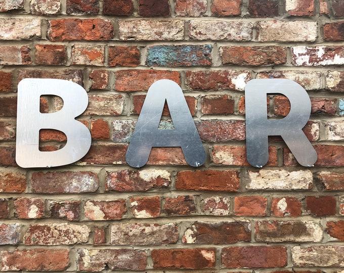 BAR SIGN , large metal Lettering , GALVANIZED Metal letters , Shop signage , Home bar Sign , drinks sign , Cocktail bar , garden bar sign