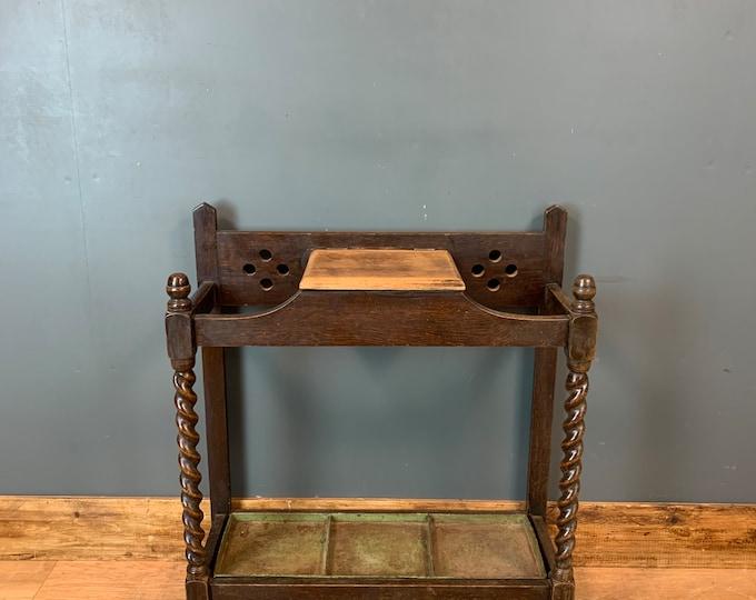 Hallway Stand / Vintage Barely Twist Oak /  Walking Stick Stand / Umbrella Stand /  Key Box Tidy