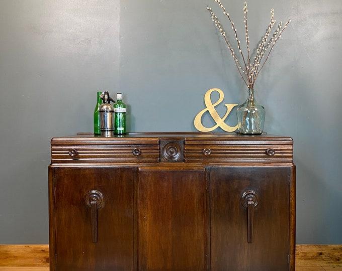 Vintage Oak Sideboard / Art Deco Sideboard / Utility Furniture / Oak Cupboard