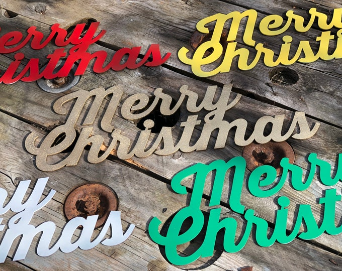 Rustic MERRY CHRISTMAS Sign Metal Home decoration Ornament Winter Snow Fairy Elf
