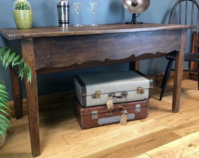 19th Century Antique French Dough Bin Oak Kitchen Island Sideboard Table Storage