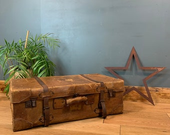 Vintage Leather Antique Suitcase Travelling Trunk Old Shabby Chic Rustic Decor