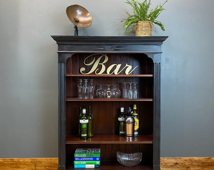 Vintage Bookcase / Rustic Sideboard / Drinks Cabinet /  Painted Bookcase