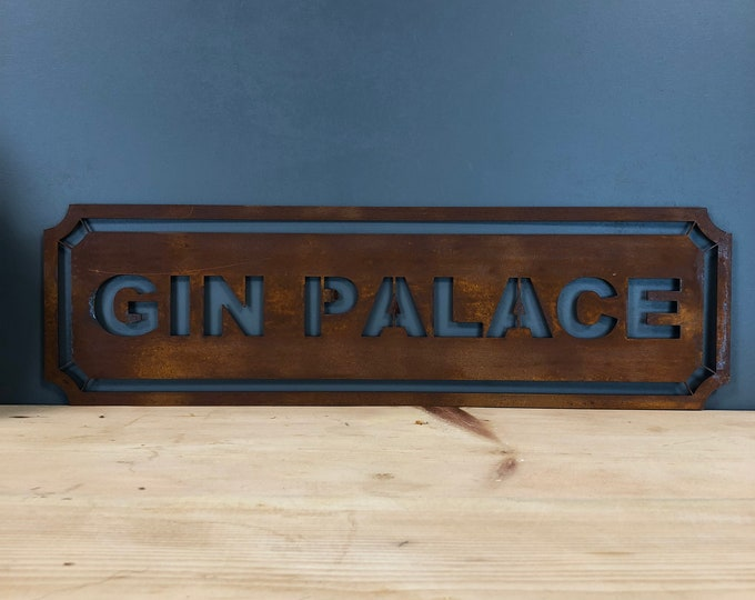 Rusted GIN PALACE Word Sign Metal Shop Home Rustic Pub Cafe Bar Cocktails Drinks