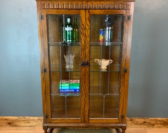 Vintage Oak Glazed Gin Cupboard Storage Bookcase Drinks China Cabinet Cocktail