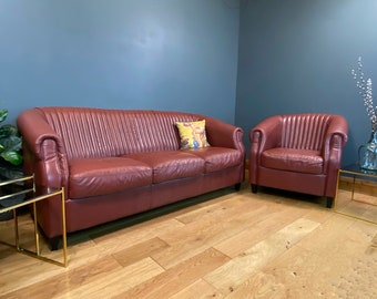 Vintage Art Deco Style Sofa & Armchair / Red Leather / Vintage Chair / Settee