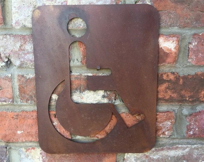 Big Rusty DISABLED Gents Ladies Toilet Door Sign Shop bar Pub Cafe Restaurant