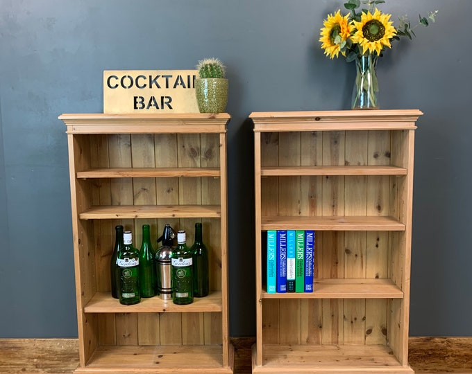 Pair Of Vintage Bookcases / Pine Bookcase / Rustic Shelving / Vintage Shelving