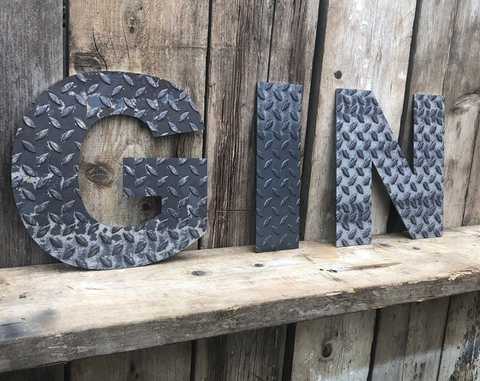 GIN INDUSTRIAL LETTERING Letters Metal Shop Home Sign Rustic Food Drinks Cafe Bar