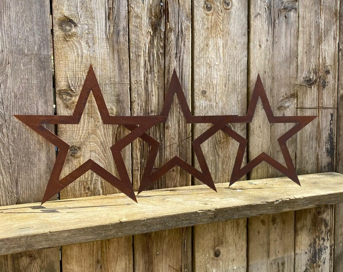 SPECIAL OFFER , 3 Rusty Metal STARS Garden Ornaments ,  garden decorations  , rustic features , garden art , great for any home or garden