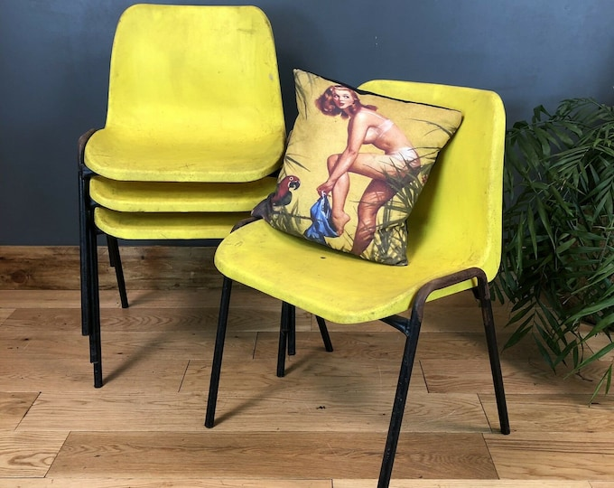 Reto School Chairs /  Set Of 4 /Vintage chairs / Mid Century chairs / retro seating / plastic chairs / yellow colour / metal and plastic