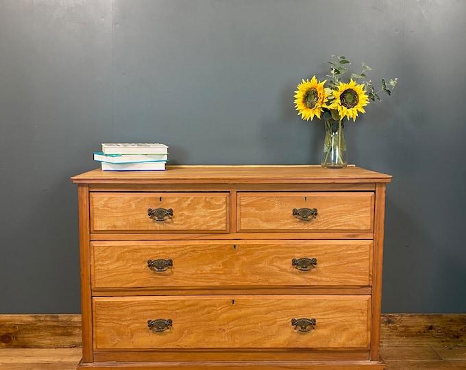 Vintage Satinwood Chest Of Drawers / Bedroom Drawers / Rustic Drawers / Storage