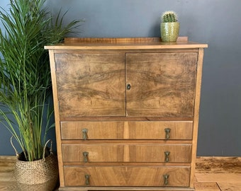 Vintage Tallboy Linen Cupboard Shelves Storage Bleached Walnut Rustic Drawers