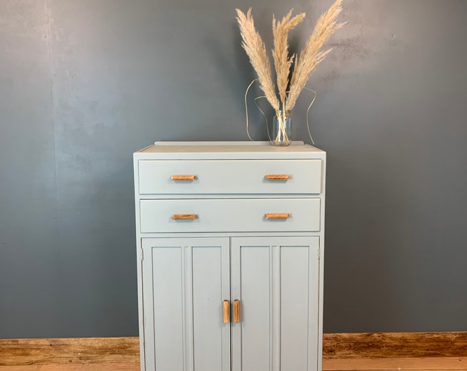 Vintage Cupboard/ Rustic Tallboy / Painted Cupboard / Linen Cupboard / Grey Blue
