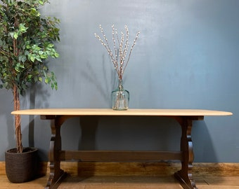 Large Vintage Ercol Refectory Table /Elm Dining Table / Retro Kitchen table