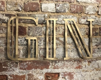 Gold ART DECO GIN sign , Rusty metal letters , home bar sign , garden sign , rustic lettering, gold metal lettering , drinks sign